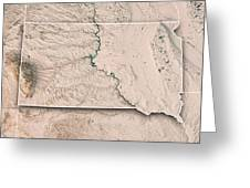 South Dakota State Usa 3d Render Topographic Map Neutral Border Greeting Card