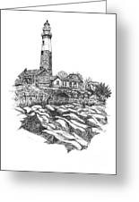 South Fork Lighthouse L I N Y  Bw Greeting Card