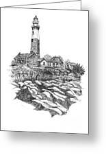 South Fork Lighthouse L I N Y  Bw Greeting Card