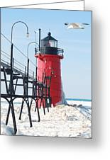 South Haven Pierhead Light Greeting Card