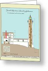 South Manitou Island Lighthouse Color Drawing Greeting Card