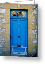 South Of France Rustic Blue Door  Greeting Card