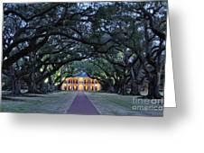 Southern Manor Home At Night Greeting Card