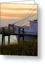 Southern Shrimp Boat Sunset Greeting Card