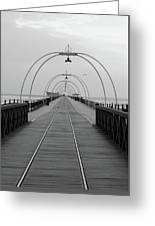 Southport Pier At Sunset With Walkway And Tram Lines Greeting Card