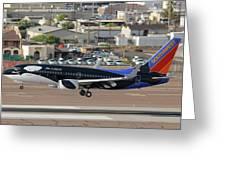 Southwest Boeing 737-7h4 N715sw Shamu Landing Phoenix Sky Harbor April 5 2011 Greeting Card