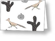 Southwest Design Roadrunner And Cactus Greeting Card