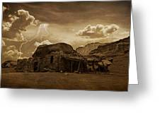Southwest Navajo Rock House And Lightning  Greeting Card