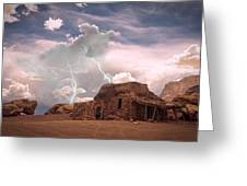 Southwest Navajo Rock House And Lightning Strikes Greeting Card