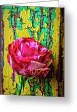 Soutime Rose Against Cracked Wall Greeting Card