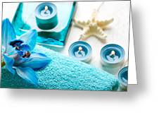 Spa Still Life With Towel And Candles Greeting Card