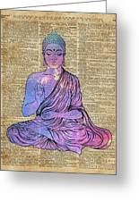 Space Buddha Dictionary Art Greeting Card