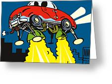 Space Car Taking Off Greeting Card by Aloysius Patrimonio