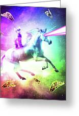 Space Cat Riding Unicorn - Laser, Tacos And Rainbow Greeting Card