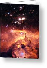 Space Image Orange And Red Star Cluster With Blue Stars Greeting Card