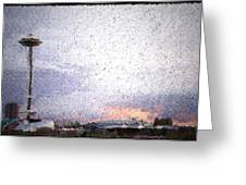 Space Needle And Emp At Sunset Greeting Card