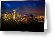 Space Needle In Seattle After Dark Greeting Card by Claudia Abbott