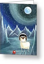 Space Pug  Greeting Card