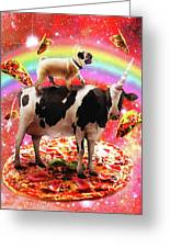 Space Pug Riding Cow Unicorn - Pizza And Taco Greeting Card