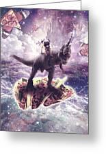 Space Pug Riding Dinosaur Unicorn - Pizza And Taco Greeting Card