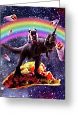 Space Pug Riding Dinosaur Unicorn - Taco And Burrito Greeting Card