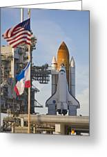 Space Shuttle Atlantis Sitting Greeting Card by Mike Theiss