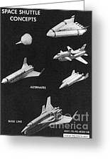 Space Shuttle Concepts Illustration Showing Late 1960s Designs Part Of The Phase A  A Prime Process Greeting Card