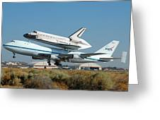 Space Shuttle Discovery Departs Edwards Afb August 19 2005 Greeting Card