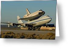 Space Shuttle Endeavour Departs Edwards Afb December 10 2008 Greeting Card