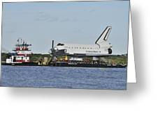 Space Shuttle Inspiration On A Barge Greeting Card