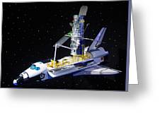 Space Shuttle With Hubble Telescope Greeting Card