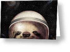Space Sloth Greeting Card by Eric Fan