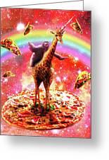 Space Sloth Riding Giraffe Unicorn - Pizza And Taco Greeting Card