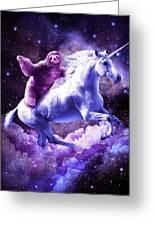 Space Sloth Riding On Unicorn Greeting Card