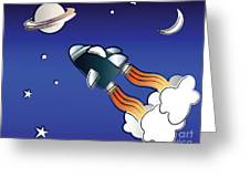 Space Travel Greeting Card by Jane Rix