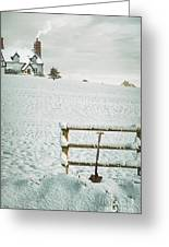 Spade Leaning Against Fence In The Snow Greeting Card