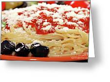 Spaghetti With Tomatoes And Olives Food Background Greeting Card