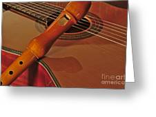 Spanish Guitar And Flute Greeting Card