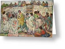 Spanish Manolas Outside The Bullring Greeting Card