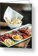 Spanish Smoked Meats Ham And Cheese Platter Starter Dish Greeting Card