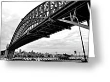 Spanning Sydney Harbour - Black And White Greeting Card