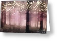 Sparkling Fantasy Fairytale Trees Nature Pink Woodlands - Sparkling Lights Bokeh Fantasy Trees Greeting Card