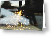 Sparks From Cutting Metal Greeting Card