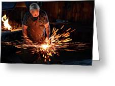 Sparks When Blacksmith Hit Hot Iron Greeting Card