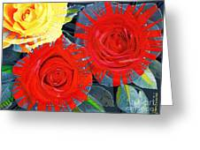 Spattered Colors On Roses Greeting Card