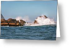 Spectacular Waves Smashing On The Rocks At Milford Sound Fjord O Greeting Card