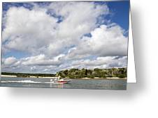 Speedy Red Boat Greeting Card