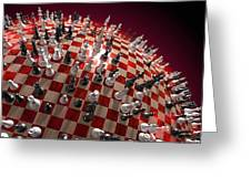 Spherical Chess Board World Greeting Card