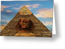 Sphinx And Pyramid Of Khafre Greeting Card