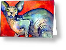 Sphynx Cat 6 Painting Greeting Card